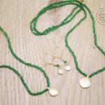 18ct yellow gold & emeralds, drop earrings